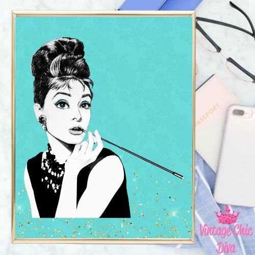 Audrey Hepburn Teal Gold Glitter Background-