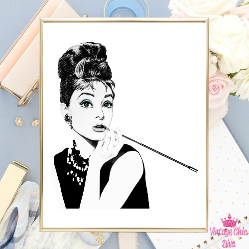 Audrey Hepburn White Background-