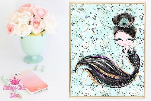 Audrey Mermaid Black Green Background-