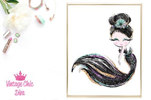 Audrey Mermaid Black White Background-