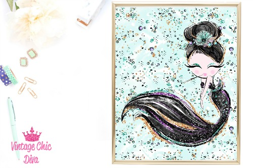 Audrey Mermaid Cig Black Green Background-