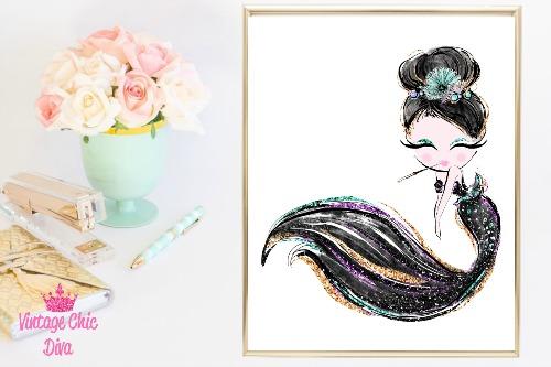 Audrey Mermaid Cig Black White Background-