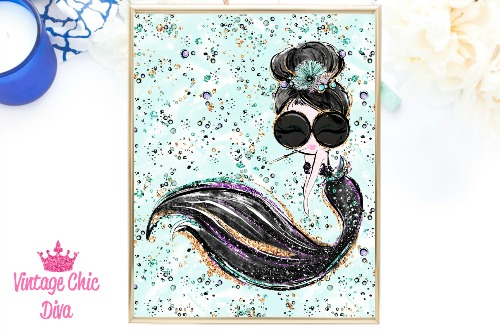 Audrey Mermaid Cig Glasses Black Green Background-