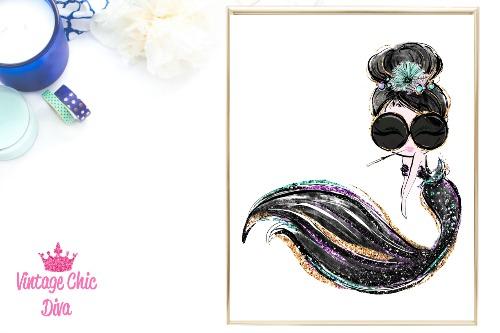Audrey Mermaid Cig Glasses Black White Background-