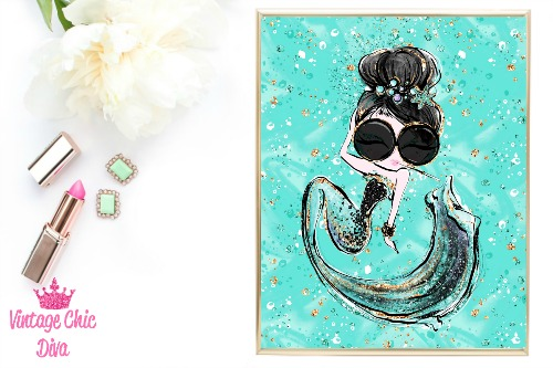 Audrey Mermaid Cig Glasses Green Green Background-