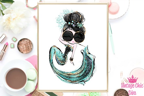 Audrey Mermaid Cig Glasses Green White Background-