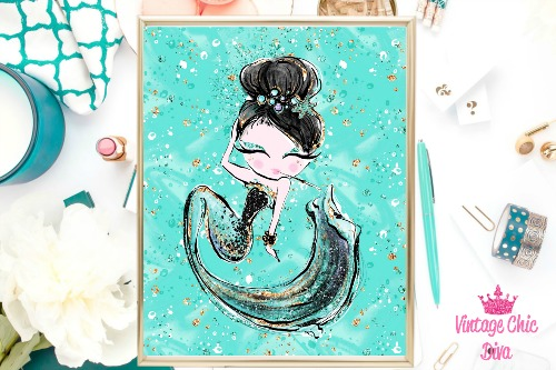 Audrey Mermaid Cig Green Green Background-