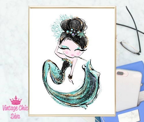Audrey Mermaid Cig Green White Background-