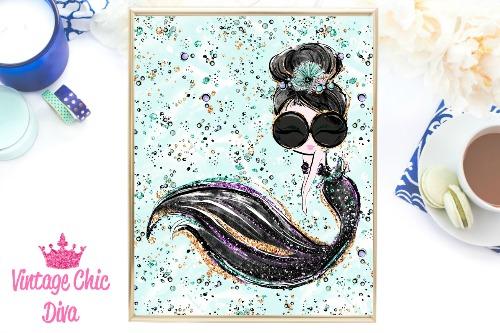Audrey Mermaid Glasses Black Green Background-