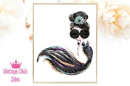 Audrey Mermaid Glasses Black White Background-