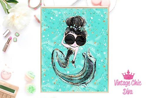 Audrey Mermaid Glasses Green Green Background-