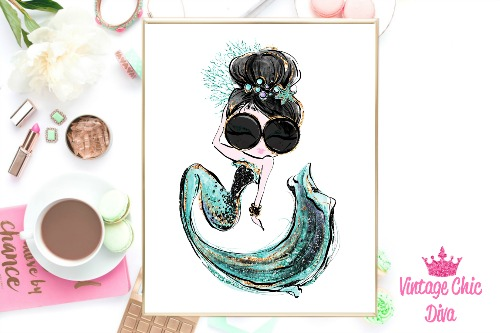 Audrey Mermaid Glasses Green White Background-