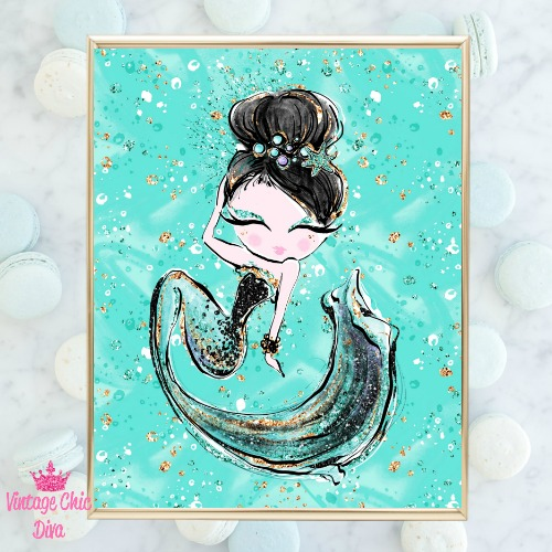 Audrey Mermaid Green Green Background-