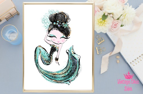 Audrey Mermaid Green White Background-