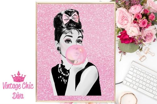 Audrey Pink Bubblegum Pink Glitter Background-