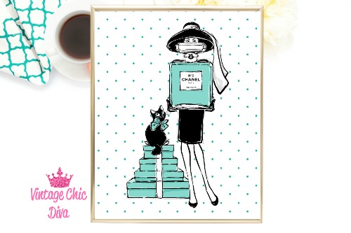 Audrey Style Set Teal Dots Background-