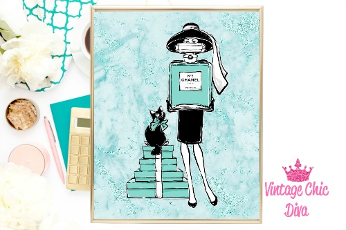 Audrey Style Set Teal Marble Background-
