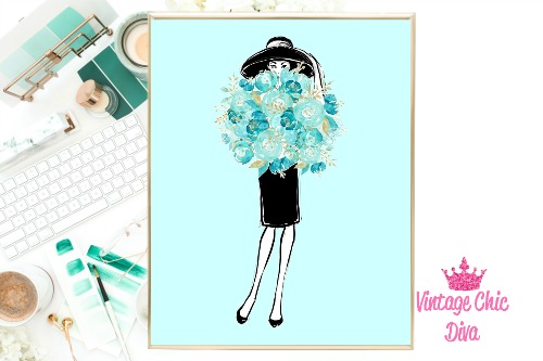Audrey With Flowers Teal Background-