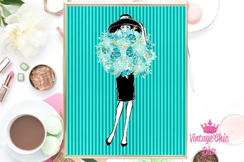 Audrey With Flowers Teal Stripes Background-
