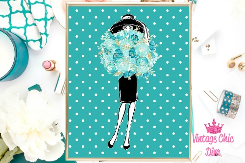 Audrey With Flowers Teal White Dots Background-