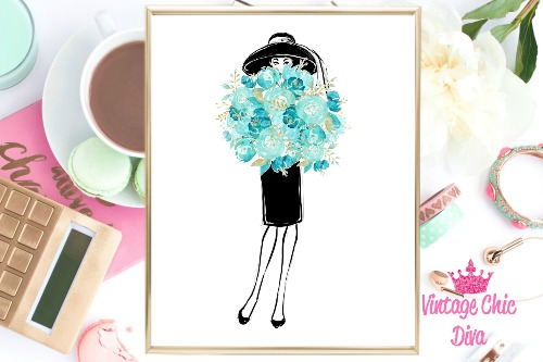 Audrey With Flowers White Background-
