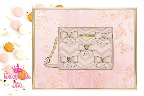 Betsey Johnson Blush Bow Purse Blush Gold Background-
