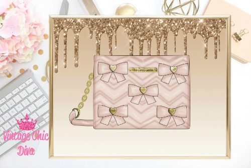 Betsey Johnson Blush Bow Purse Gold Glitter Drip Background-
