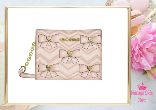 Betsey Johnson Blush Bow Purse White Background-