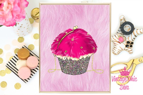 Betsey Johnson Cupcake Purse Pink Fur Background-