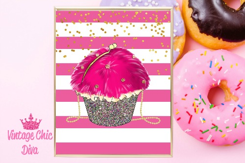 Betsey Johnson Cupcake Purse Pink White Gold Dots Background-