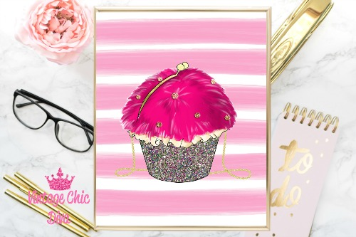 Betsey Johnson Cupcake Purse Pink White Stripe Background-