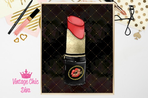 Betsey Johnson Lipstick Purse Black Gold Lattice Background-