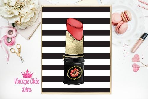 Betsey Johnson Lipstick Purse Black White Stripe Background-