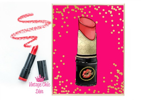 Betsey Johnson Lipstick Purse Pink Red Gold Dots Background-