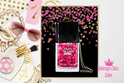Betsey Johnson Nail Polish Purse Black Pink Gold Dots Background-