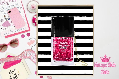 Betsey Johnson Nail Polish Purse Black White Stripe Background-