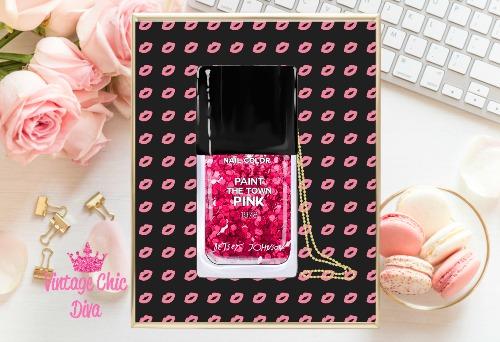 Betsey Johnson Nail Polish Purse Pink Black Lips Background-