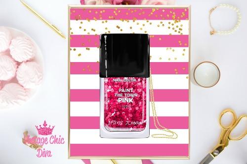 Betsey Johnson Nail Polish Purse Pink White Stripe Background-