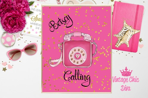 Betsey Johnson Pink Phone Purse Bright Pink Gold Dots Background-