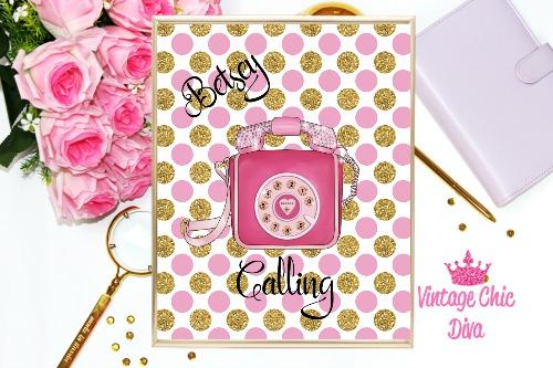 Betsey Johnson Pink Phone Purse Pink Gold Confetti Background-