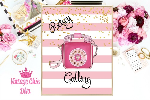 Betsey Johnson Pink Phone Purse Pink Gold Dots Background-