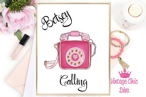 Betsey Johnson Pink Phone Purse White Background-