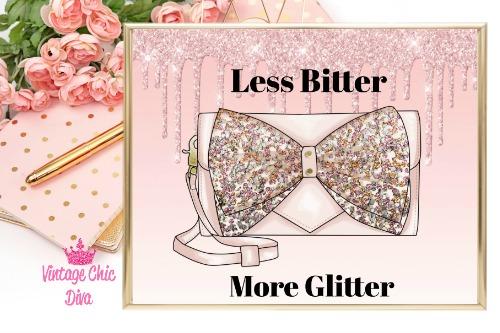 Betsey Johnson Pink Sequin Purse Pink Glitter Drip Background-