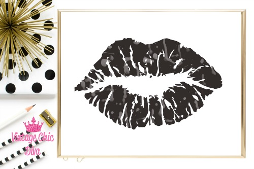 Black Grey Lips White Background-