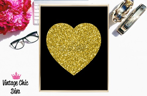 Black Heart Gold Glitter-