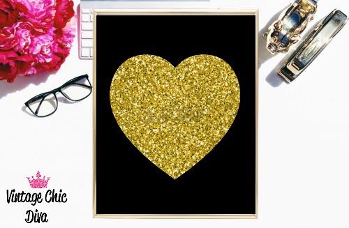 Black Heart Gold Glitter-