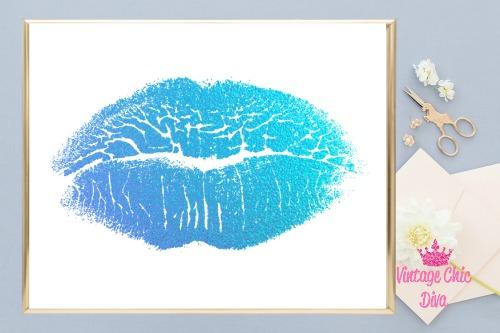 Blue Lips White Background1-