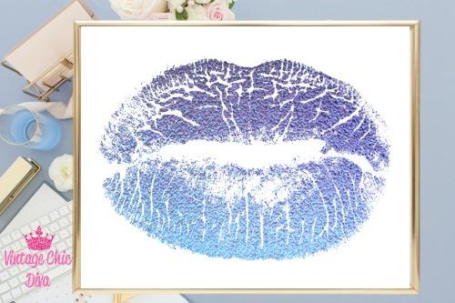 Blue Lips White Background2-