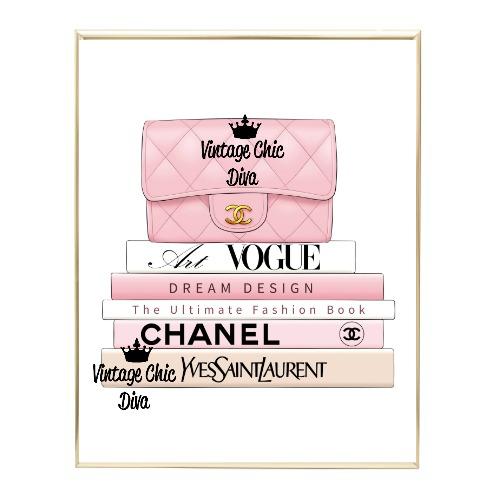 Blush Chanel Handbag Fashion Book Set1 Wh Bg-