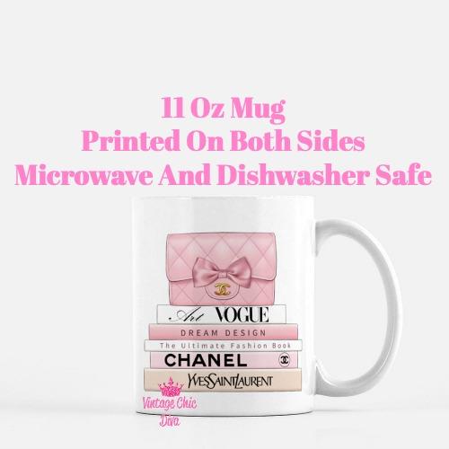 Blush Chanel Handbag Fashion Book Set2 Coffee Mug-